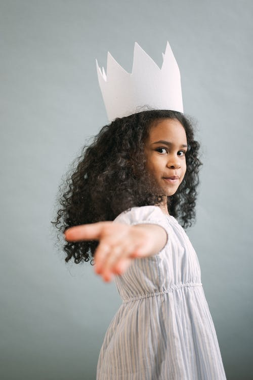 Cute black girl in princess outfit