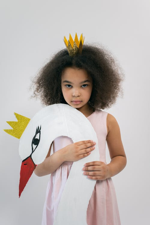 Adorable African American girl in light pink dress and paper crown holding cardboard swan while looking at camera and standing on white background