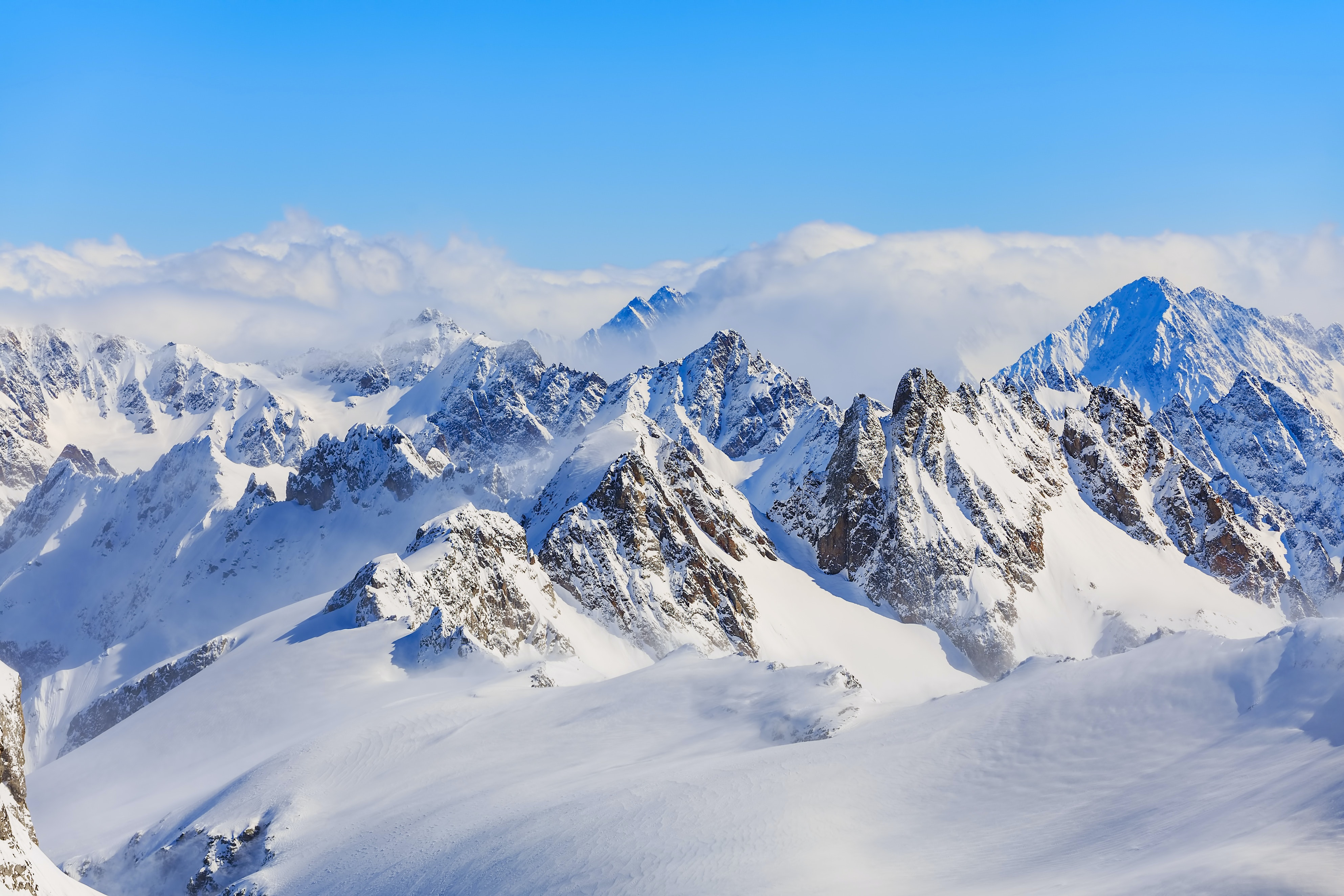 Mountain Ranges Covered In Snow Free Stock Photo
