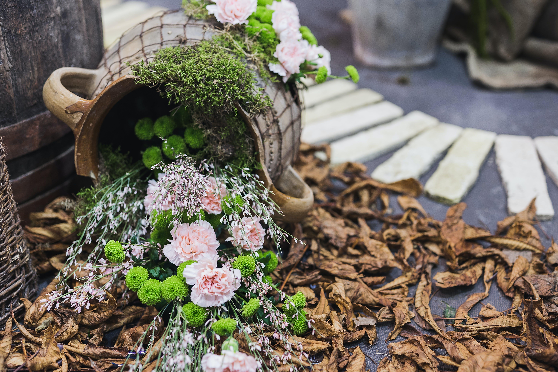 Pink Flowers In Grey Pot