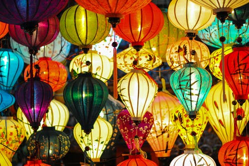 Assorted Colored Lighted Paper Lanterns