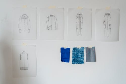 Sketches and textile on wall