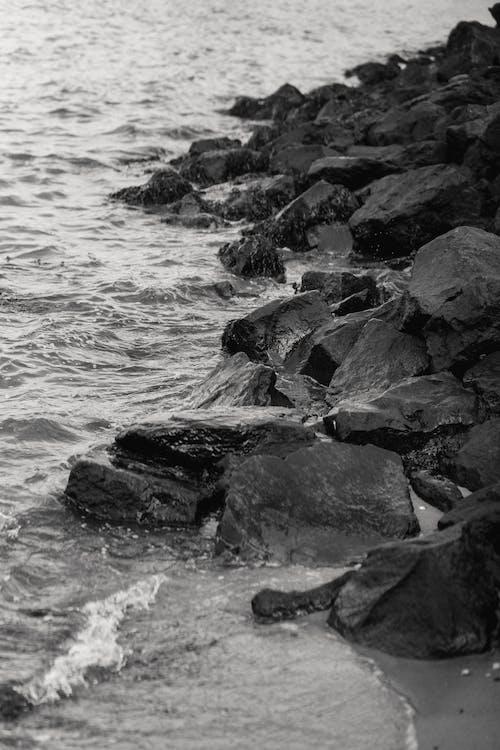 Rocky coast of wavy ocean