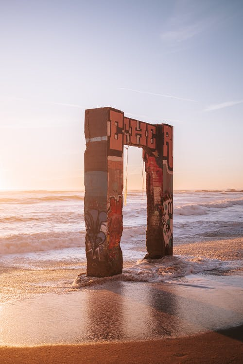 Brown Wooden Post on Beach during Sunset