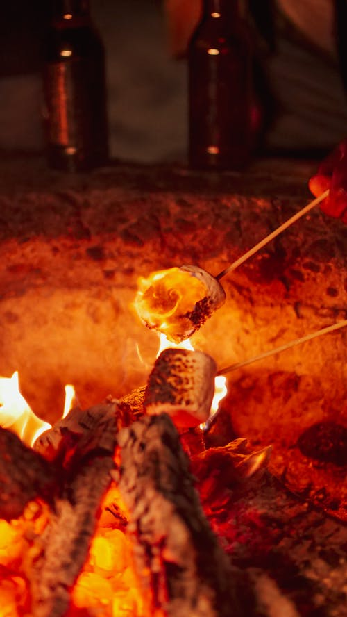 คลังภาพถ่ายฟรี ของ กลางคืน, กองไฟ, การทำอาหาร