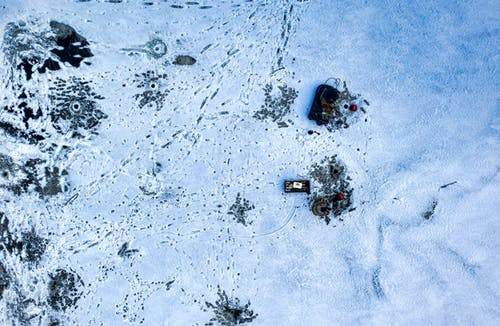 Aerial View of Frozen Water with Marks