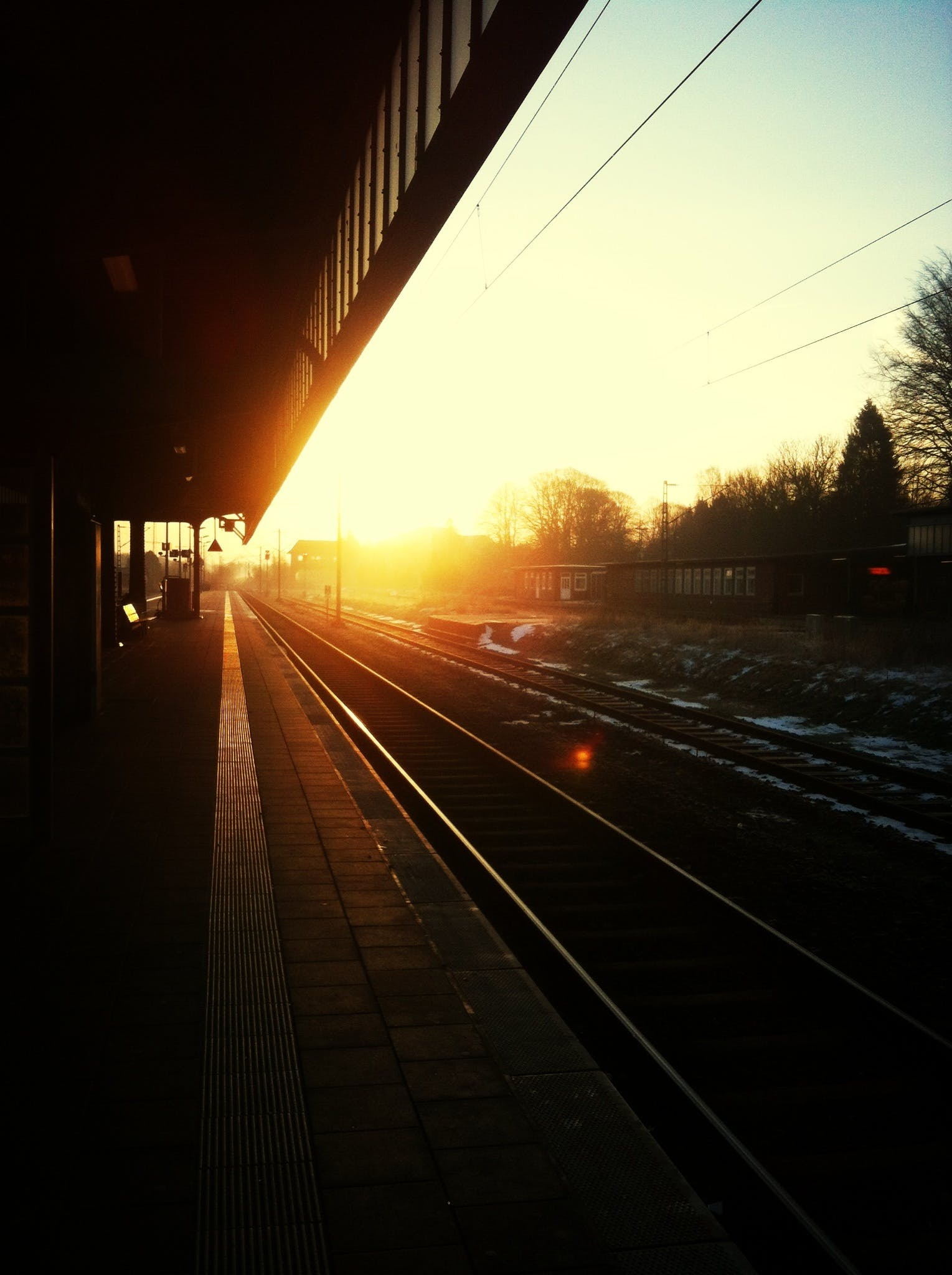 Free stock photo of idyll, morning sun, train station, train track