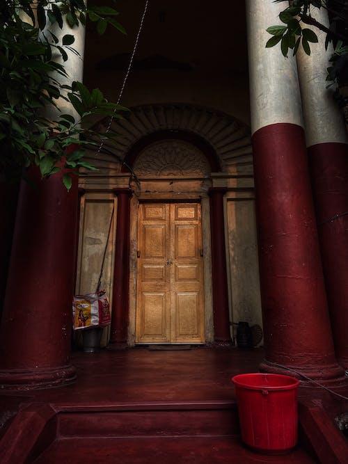 Brown Wooden Door Near Green Plant