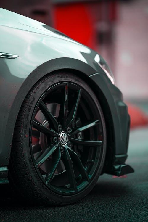 Font wheel of shiny sports car