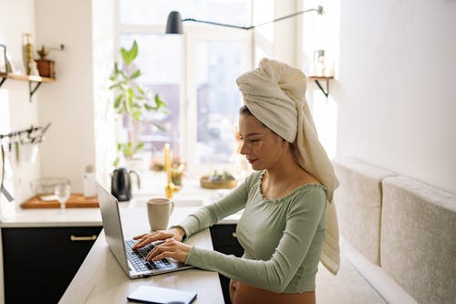 A Pregnant Woman with Head  Turban Towel