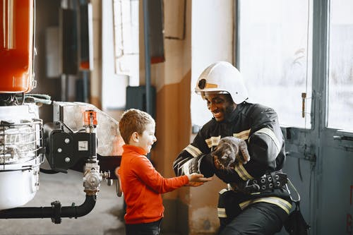 A Fireman Rescuing a Cat for the Boy