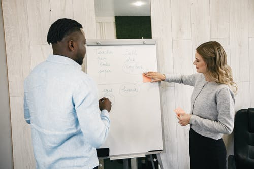 Man and Woman Standing in Font of White Board