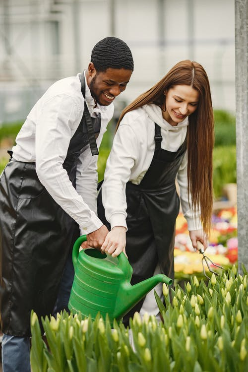 Man and Woman Wearing Black Apron Holding Green Watering Can