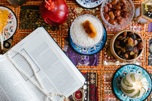 Food On Table And A Book