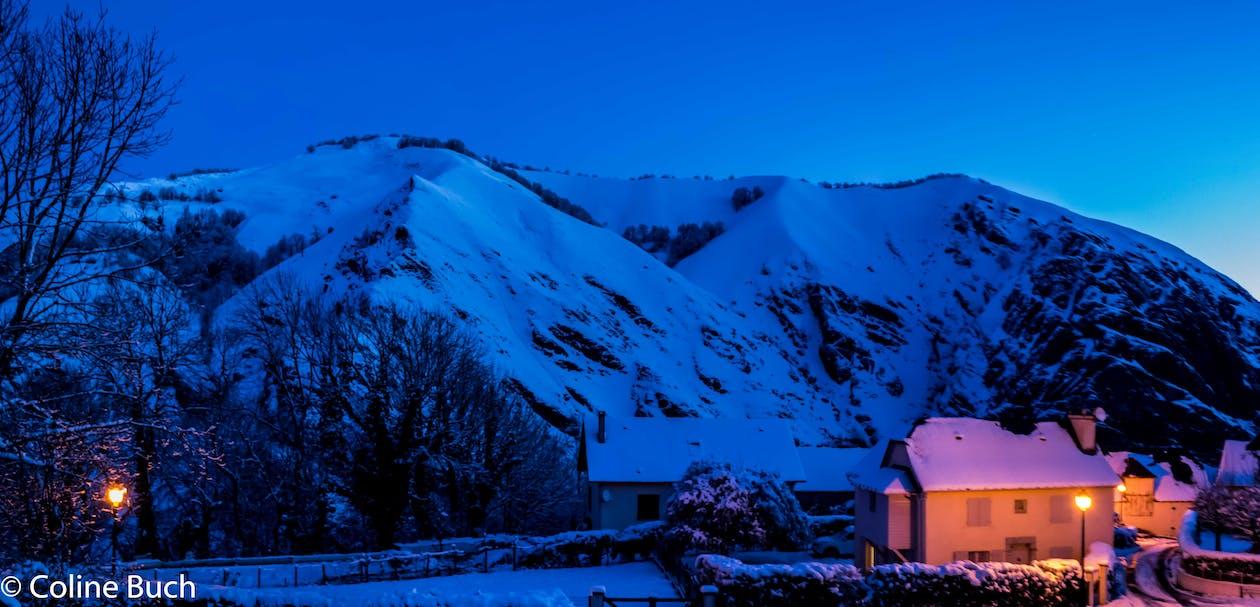 maison, montagne, neige