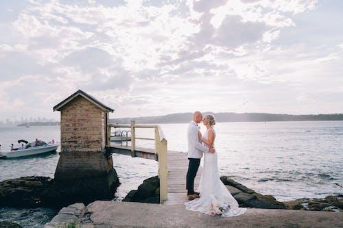 Free stock photo of beach, bride, bride and groom