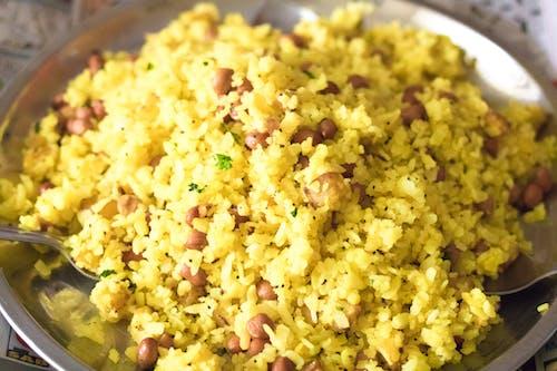 Free stock photo of aloo, aloo poha, flattened rice