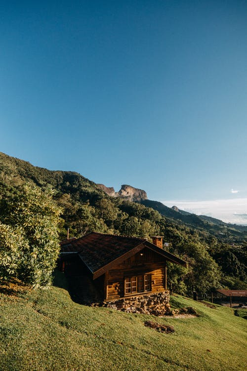 Aged wooden hut located on grassy hill slope near green trees growing on mountain in countryside on sunny summer day