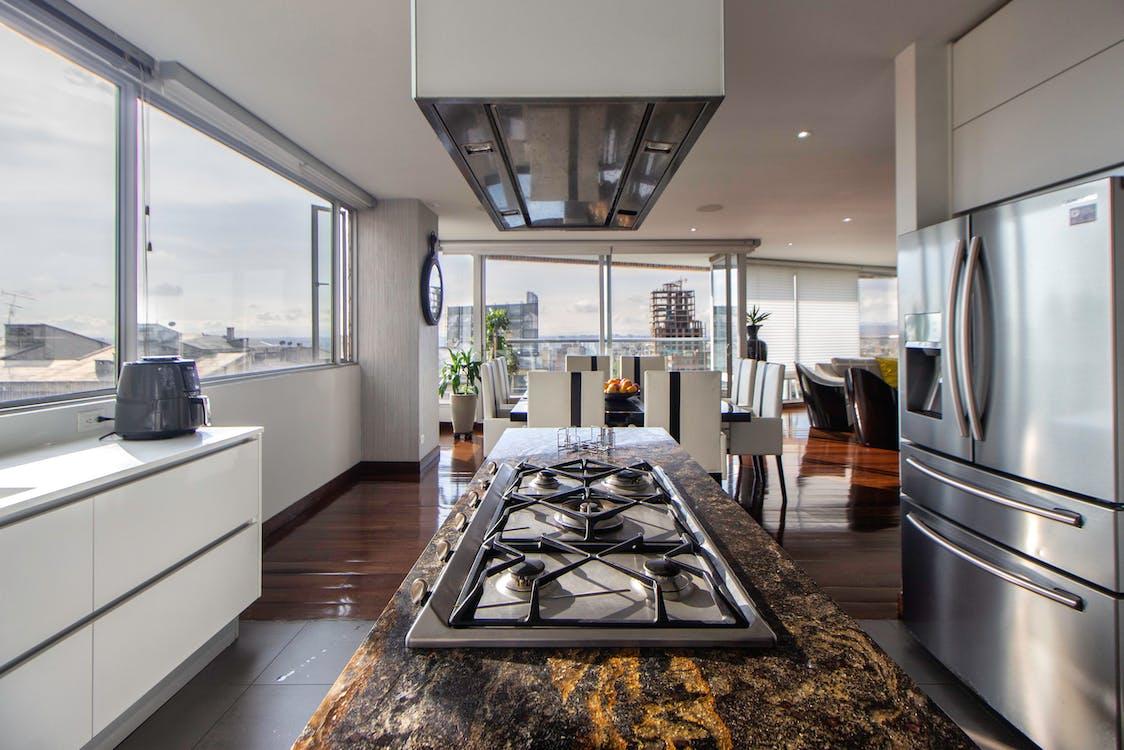 Kitchen Area with Big Window Glass Panels