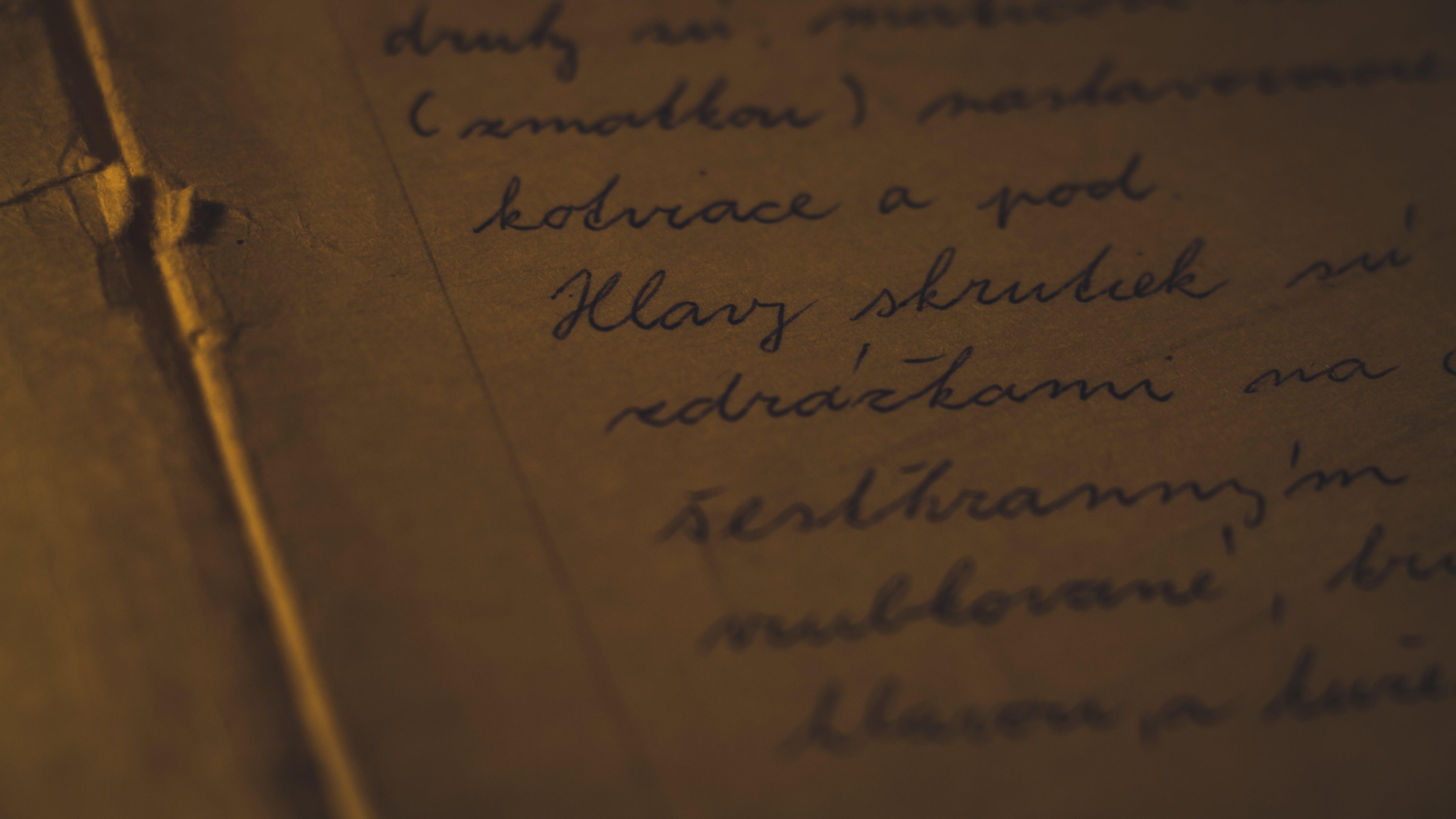 dokument, fokus, handschrift