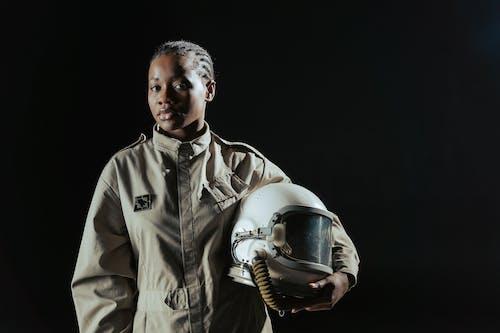 A Female Astronaut in Uniform
