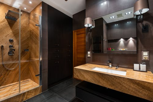 Modern bathroom with wooden elements