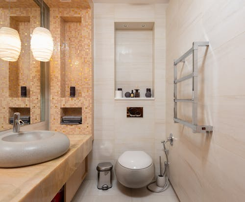 Interior of bathroom with sink and toilet