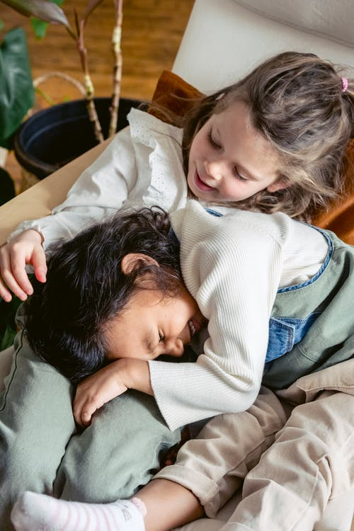 From above cute multiracial girls cuddling in comfortable armchair while spending time in light living room with green plant at home