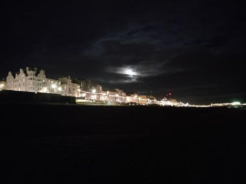 Free stock photo of beach, clouds, moonlight