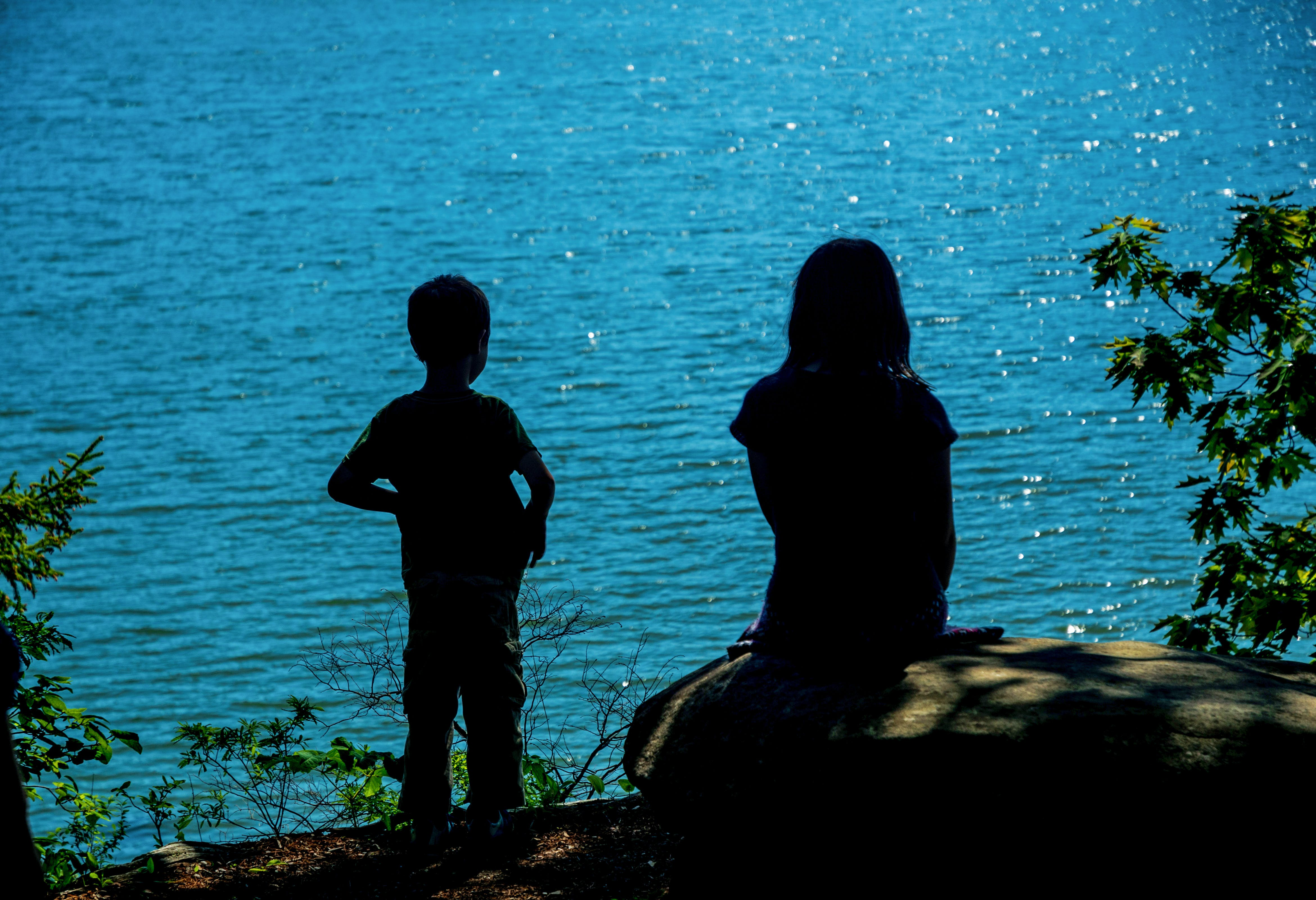 Free stock photo of blue water, children, contemplate, light and shadow
