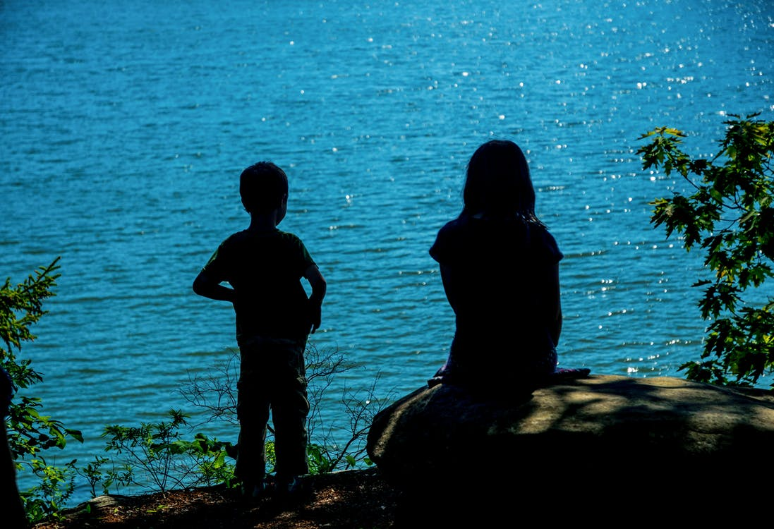 Free stock photo of blue water, children, contemplate