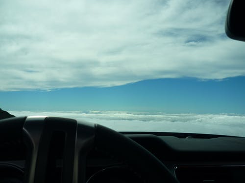 Free stock photo of Driving into the clouds
