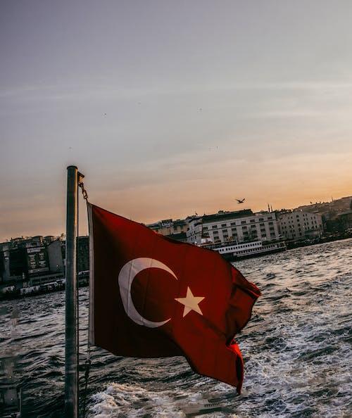 Free stock photo of seascape, Turkish Flag