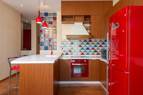 Interior of bright kitchen in contemporary flat