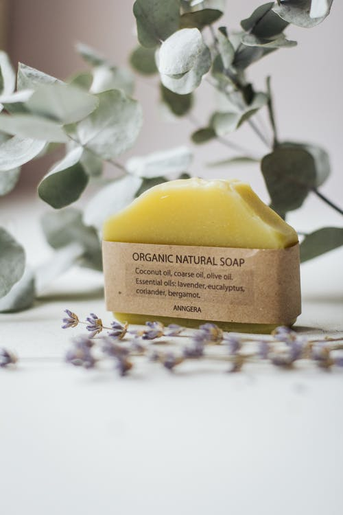 Natural handmade soap arranged on table with Eucalyptus twigs