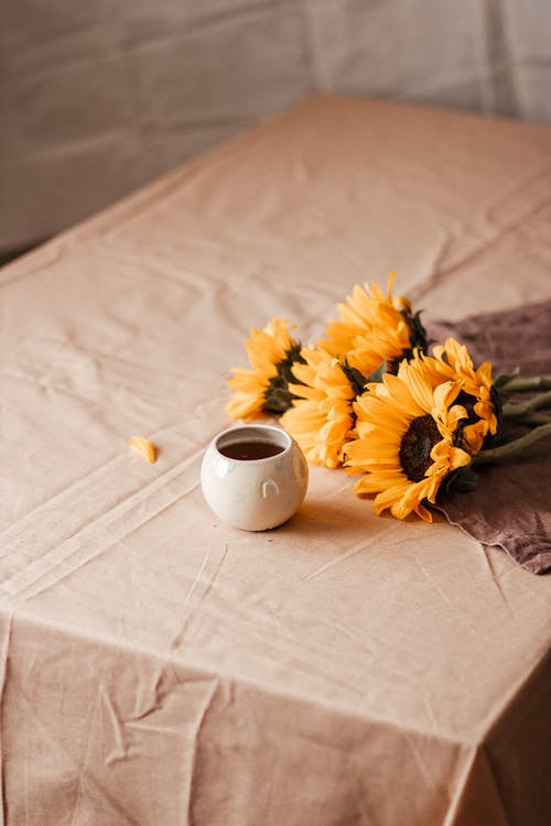 Coffee in cup near blooming sunflowers