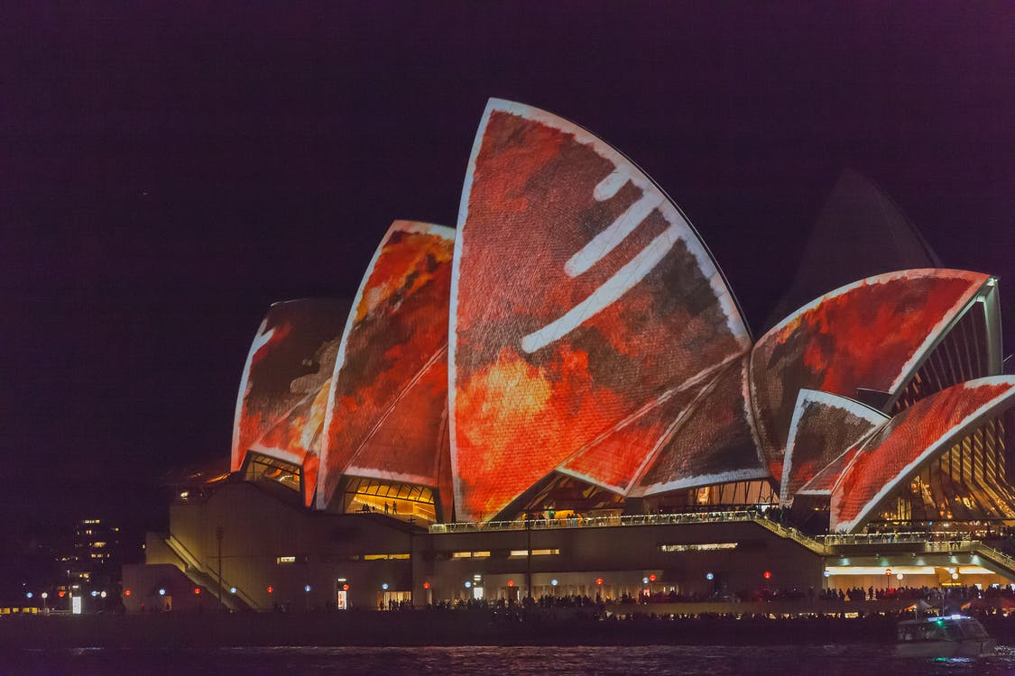 Free stock photo of sydney opera house, vivid color