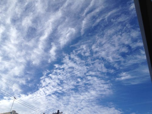 Free stock photo of blue sky, overhead wires, telegraph pole
