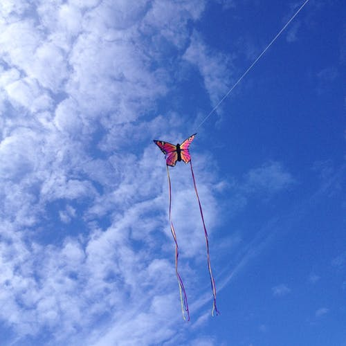 Immagine gratuita di aquilone, cielo azzurro, nuvole leggere