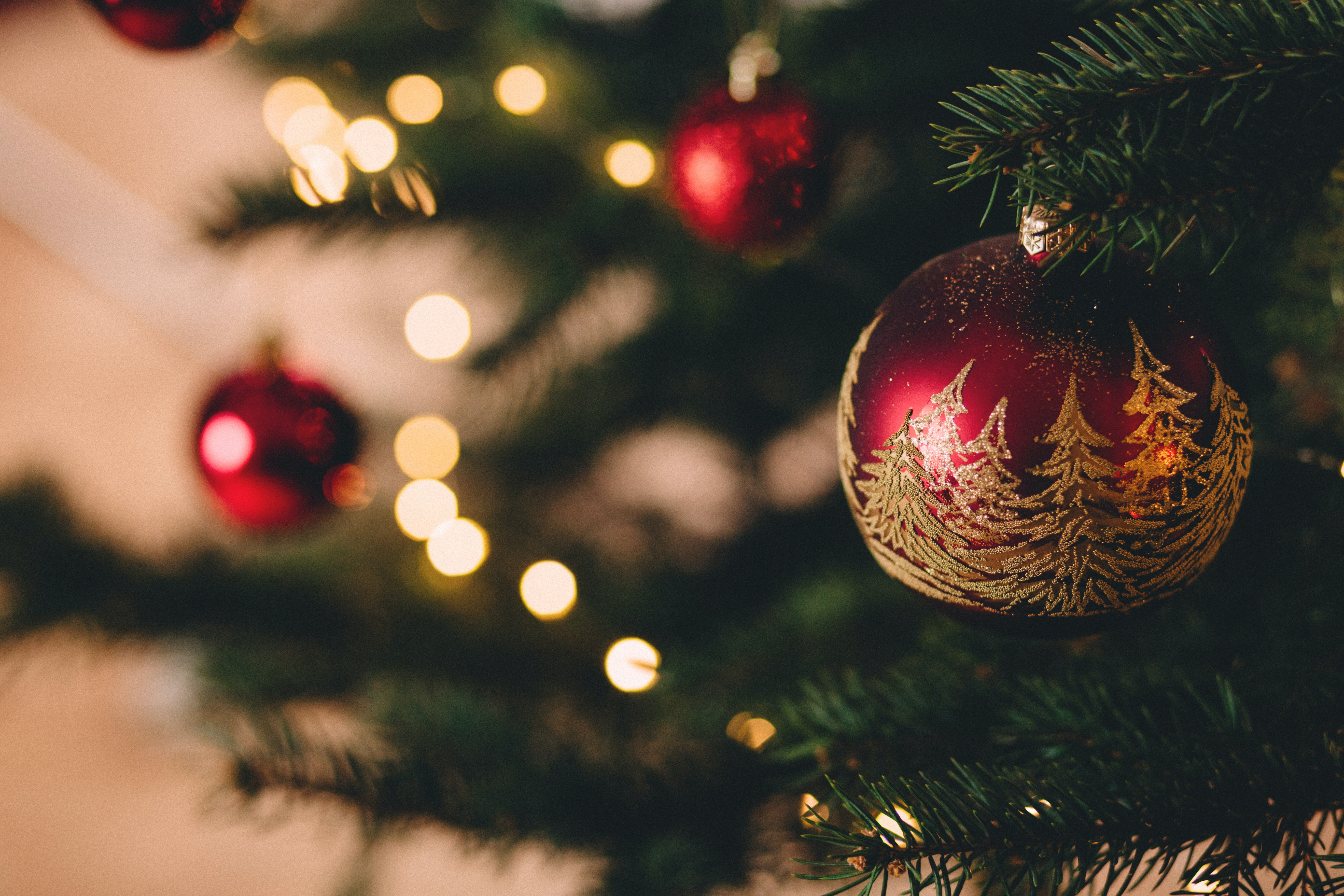 Christmas Pics.Christmas Tree With Baubles Free Stock Photo