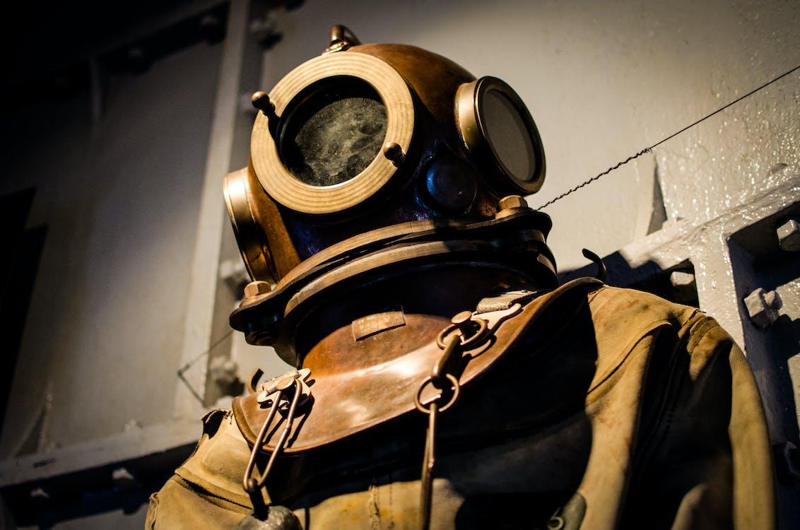 Brown Diving Suit and Helmet