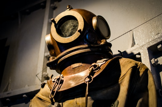 Free stock photo of vintage, historical, old, diver