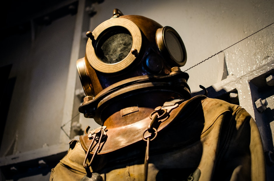 diver, diving suit, historical