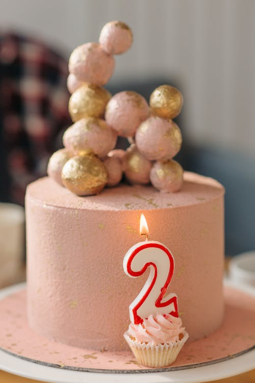 Birthday Cake on a Table with Number on a Cupcake