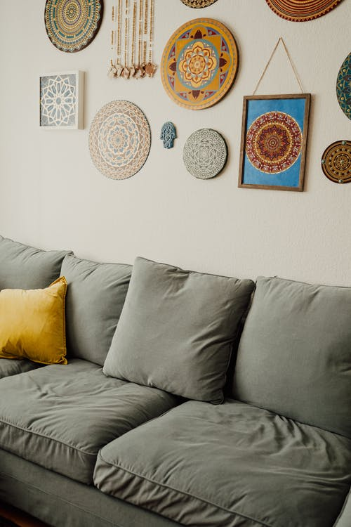 Gray Throw Pillow on Gray Couch