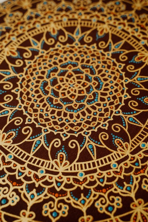 Blue and Brown Floral Textile