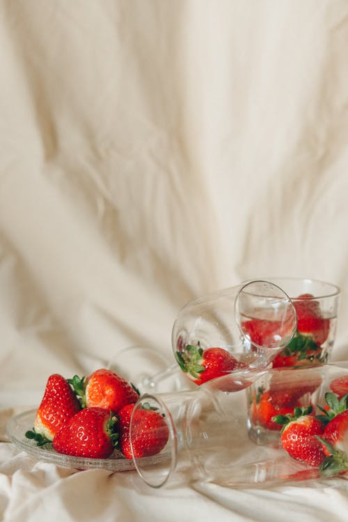 Strawberries in Clear Glass Cups