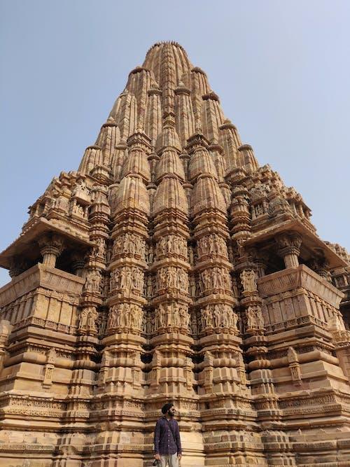 A Man Standing in Front of the Famous Kandariya Mahadeva Temple in India