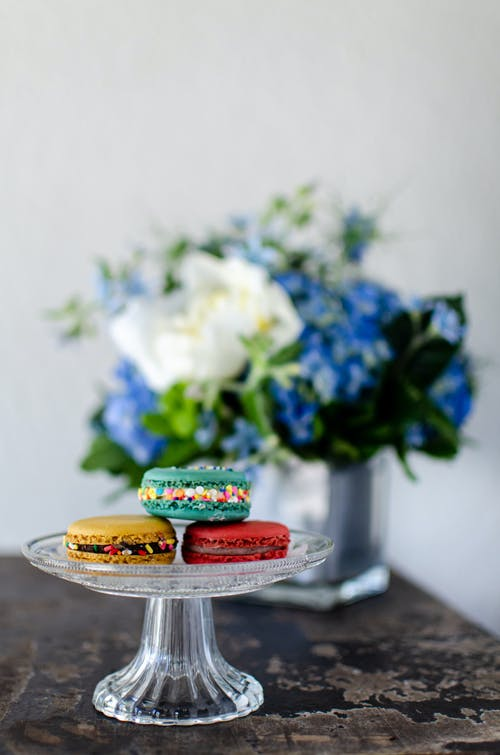 Colorful Dessert on a Glass Cake Stand