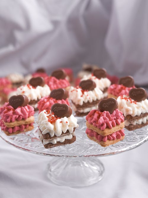Creamy Cupcakes on Glass Round Plate